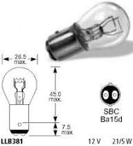 Lucas LLB381 - LAMP.AUTOM.12V 21/5W BAY15D S25 'E'